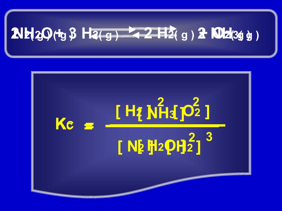 2 H2O( g ) N2( g ) + 3 H2( g ) 2 H2( g ) + O2( g ) 2 NH3( g ) [ H2 ]